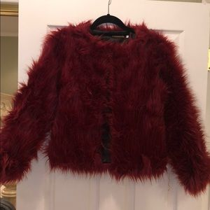 Jackets & Blazers - Red Faux Fur Coat
